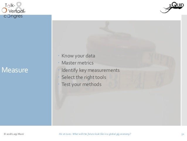 Measure  Know your data  Master metrics  Identify key measurements  Select the right tools  Test your methods © 2018 ...