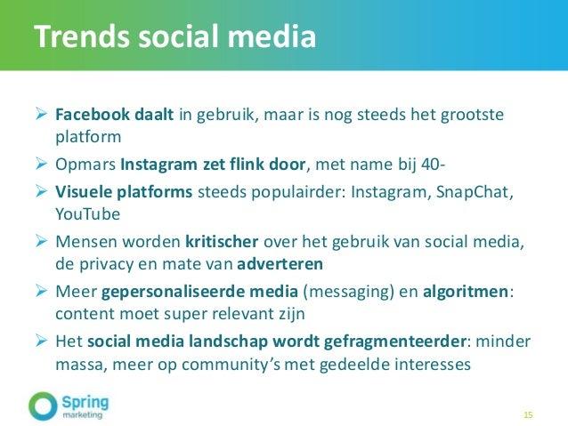 Trends social media  Facebook daalt in gebruik, maar is nog steeds het grootste platform  Opmars Instagram zet flink doo...