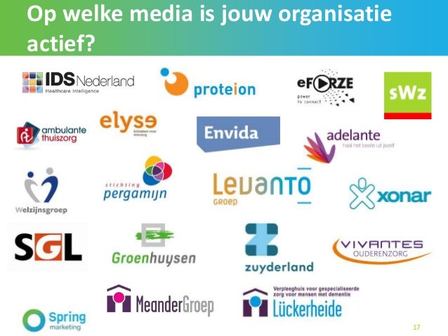 Op welke media is jouw organisatie actief? 17