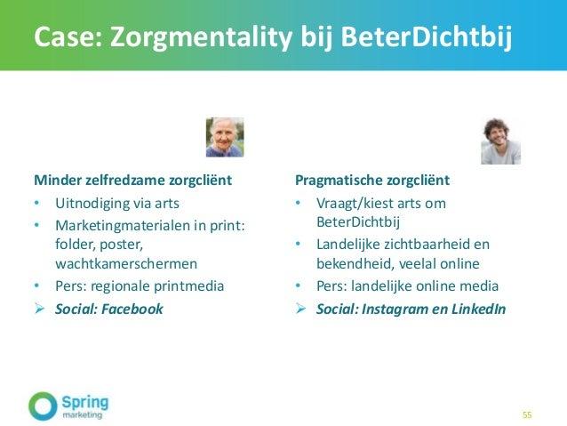 Case: Zorgmentality bij BeterDichtbij Minder zelfredzame zorgcliënt • Uitnodiging via arts • Marketingmaterialen in print:...