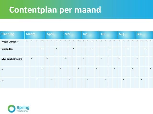 Contentplan per maand Planning Maart April Mei Juni Juli Aug. Sep. Weeknummer > 10 11 12 13 14 15 16 17 18 1 9 20 21 22 23...