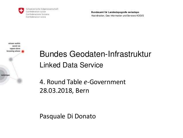 Bundes Geodaten-Infrastruktur Linked Data Service 4. Round Table e-Government 28.03.2018, Bern Pasquale Di Donato Bundesam...