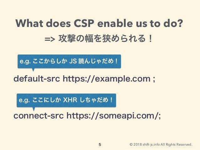 © 2018 shift-js.info All Rights Reserved. What does CSP enable us to do?