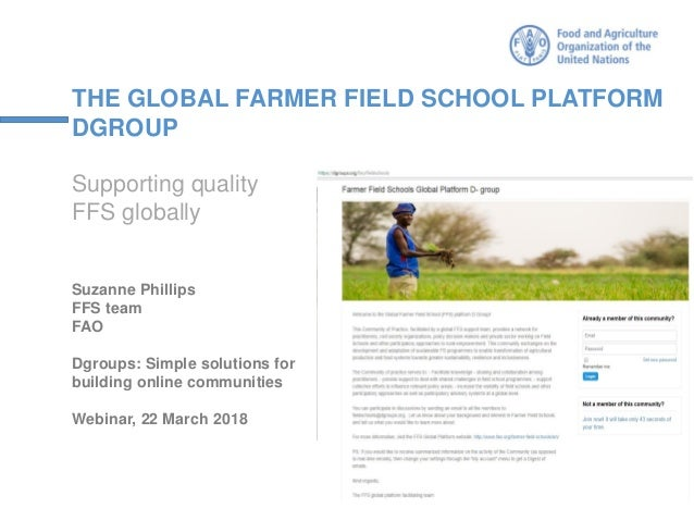 THE GLOBAL FARMER FIELD SCHOOL PLATFORM DGROUP Supporting quality FFS globally Suzanne Phillips FFS team FAO Dgroups: Simp...