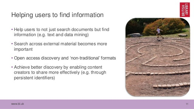 www.bl.uk 11 Helping users to find information • Help users to not just search documents but find information (e.g. text a...