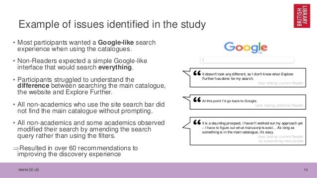 www.bl.uk 14 Example of issues identified in the study • Most participants wanted a Google-like search experience when usi...