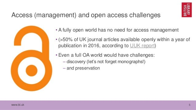 www.bl.uk 5 Access (management) and open access challenges • A fully open world has no need for access management • (>50% ...