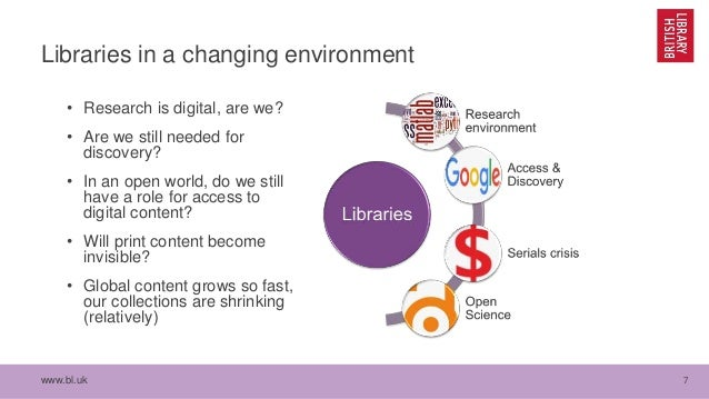 www.bl.uk 7 Libraries in a changing environment • Research is digital, are we? • Are we still needed for discovery? • In a...