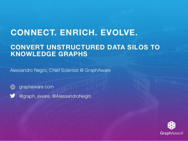 GraphAware® CONNECT. ENRICH. EVOLVE. CONVERT UNSTRUCTURED DATA SILOS TO KNOWLEDGE GRAPHS Alessandro Negro, Chief Scientist...
