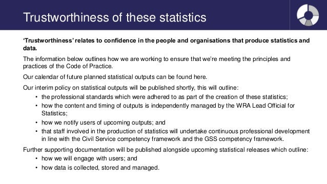 Trustworthiness of these statistics 'Trustworthiness' relates to confidence in the people and organisations that produce s...