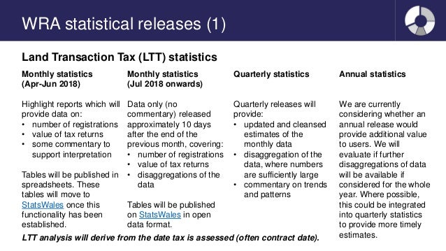 WRA statistical releases (1) Land Transaction Tax (LTT) statistics Monthly statistics (Apr-Jun 2018) Highlight reports whi...
