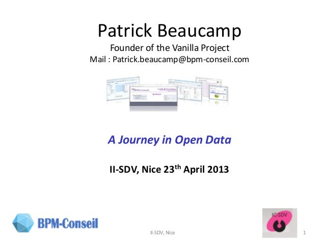IC-SDV 2018: Patrick Beaucamp (Bpm-Conseil) A journey in
