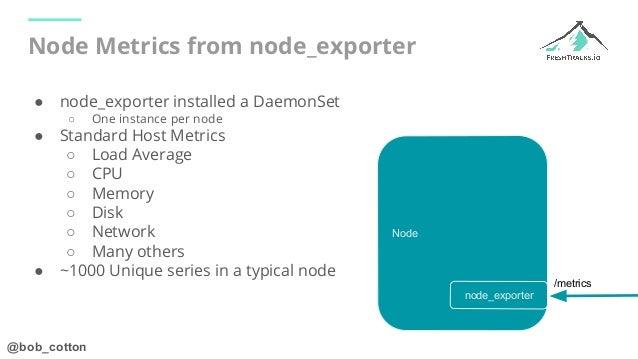 @bob_cotton Node Node Metrics from node_exporter ● node_exporter installed a DaemonSet ○ One instance per node ● Standard ...