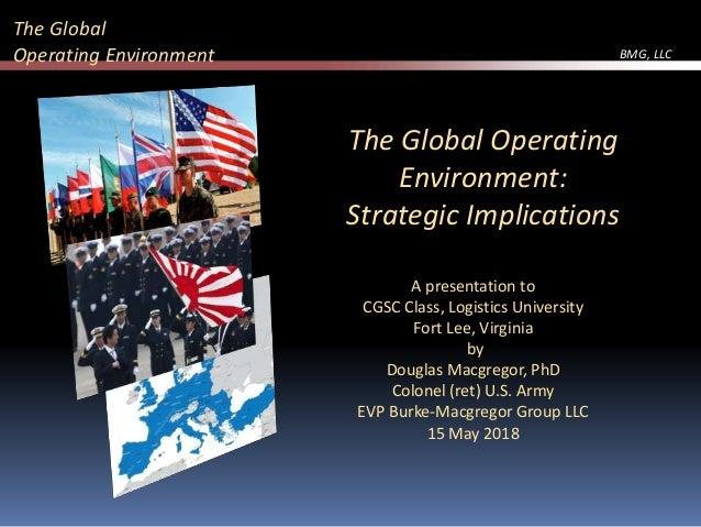 BMG, LLC A presentation to CGSC Class, Logistics University Fort Lee, Virginia by Douglas Macgregor, PhD Colonel (ret) U.S...