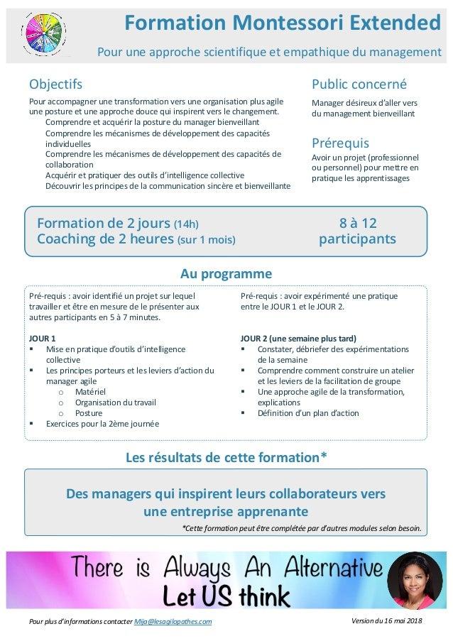 Des managers qui inspirent leurs collaborateurs vers une entreprise apprenante Formation Montessori Extended Public concer...