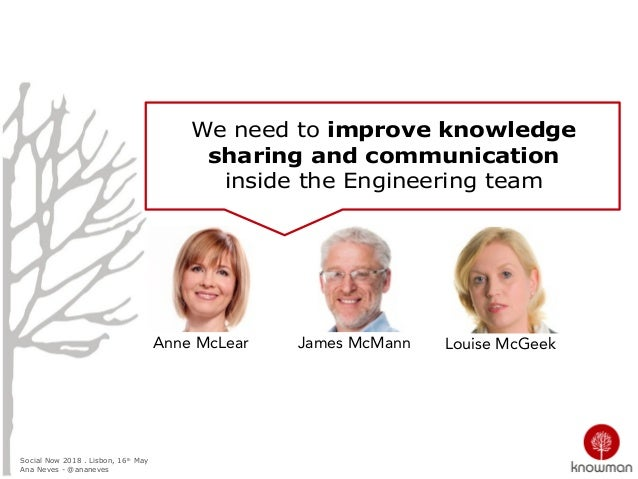 Social Now 2018 . Lisbon, 16th May Ana Neves - @ananeves We need to improve knowledge sharing and communication inside the...