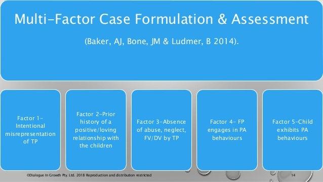 Multi-Factor Case Formulation & Assessment (Baker, AJ, Bone, JM & Ludmer, B 2014). Factor 1- Intentional misrepresentation...