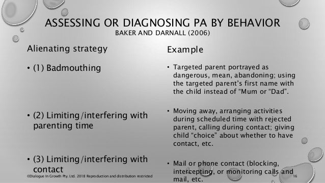 ASSESSING OR DIAGNOSING PA BY BEHAVIOR BAKER AND DARNALL (2006) Alienating strategy • (1) Badmouthing • (2) Limiting/inter...