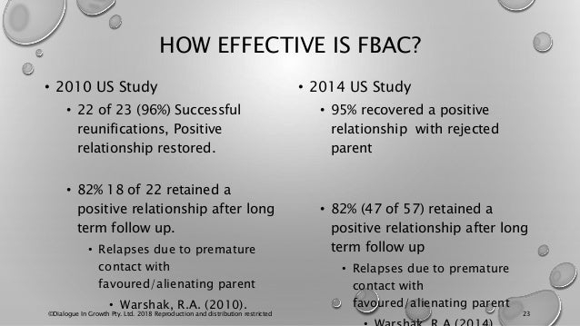 HOW EFFECTIVE IS FBAC? • 2010 US Study • 22 of 23 (96%) Successful reunifications, Positive relationship restored. • 82% 1...