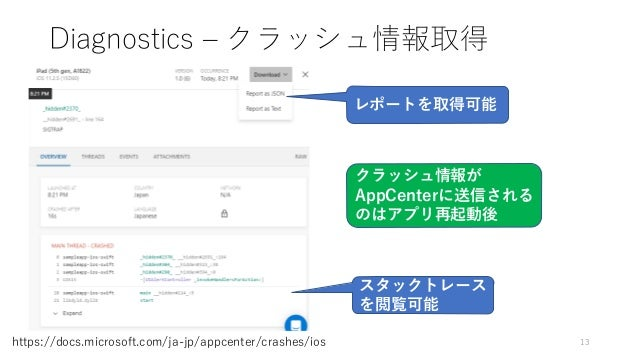 Diagnostics – クラッシュ情報取得 13https://docs.microsoft.com/ja-jp/appcenter/crashes/ios スタックトレース を閲覧可能 レポートを取得可能 クラッシュ情報が AppCent...