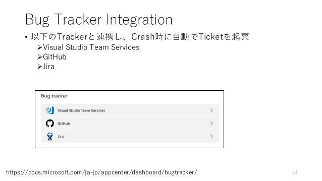 Bug Tracker Integration • 以下のTrackerと連携し、Crash時に自動でTicketを起票 Visual Studio Team Services GitHub Jira 14https://docs.mic...