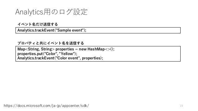 "Analytics用のログ設定 15https://docs.microsoft.com/ja-jp/appcenter/sdk/ Analytics.trackEvent(""Sample event""); イベント名だけ送信する Map<St..."