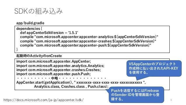 "SDKの組み込み 8https://docs.microsoft.com/ja-jp/appcenter/sdk/ dependencies { def appCenterSdkVersion = '1.5.1' compile ""com.mi..."