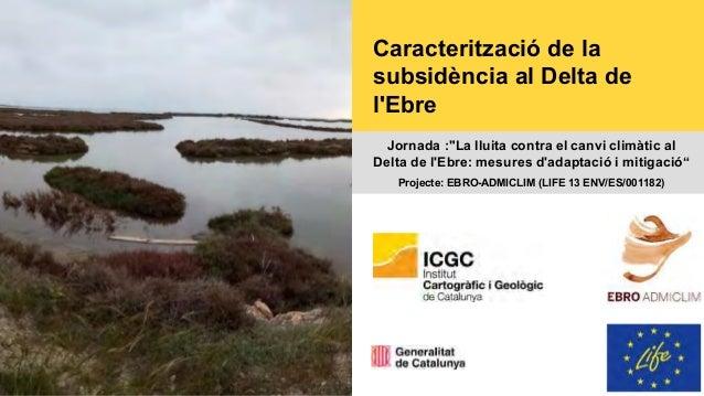 """Caracterització de la subsidència al Delta de l'Ebre Jornada :""""La lluita contra el canvi climàtic al Delta de l'Ebre: mesu..."""