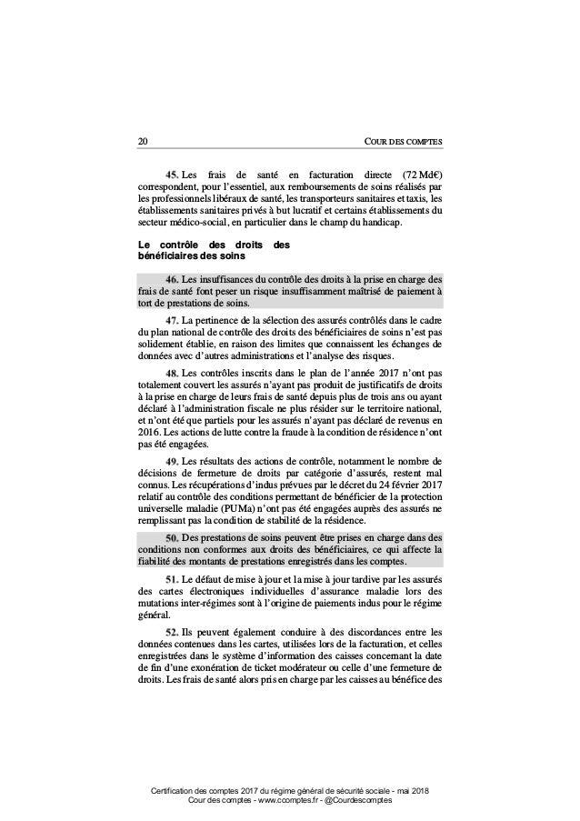 Certification Des Comptes Du Regime General De Securite Sociale