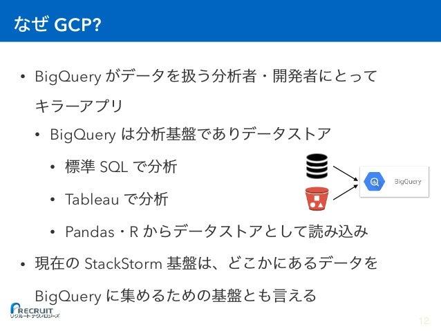 GCP? • BigQuery  • BigQuery • SQL • Tableau • Pandas R • StackStorm BigQuery 12