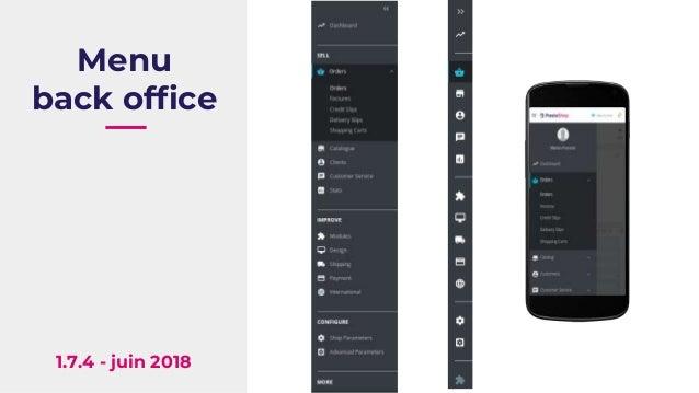 Menu back office 1.7.4 - juin 2018