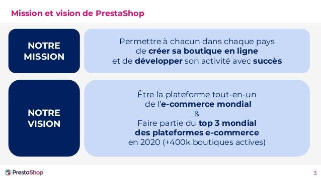 Mission et vision de PrestaShop Permettre à chacun dans chaque pays de créer sa boutique en ligne et de développer son act...