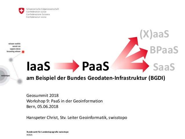 Bundesamt für Landestopografie swisstopo KOGIS IaaS PaaS SaaS am Beispiel der Bundes Geodaten-Infrastruktur (BGDI) Geosumm...
