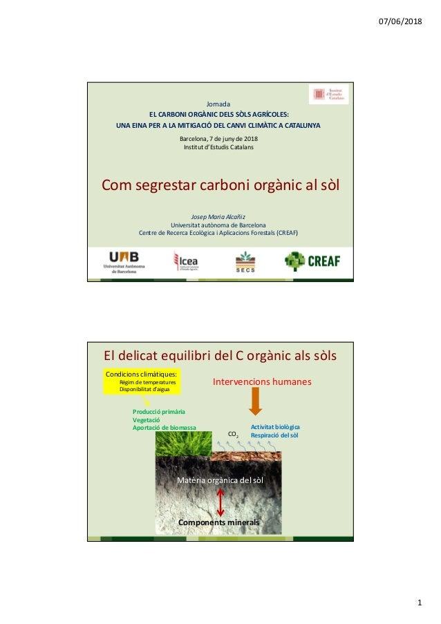 07/06/2018 1 Com segrestar carboni orgànic al sòl Jornada EL CARBONI ORGÀNIC DELS SÒLS AGRÍCOLES: UNA EINA PER A LA MITIGA...