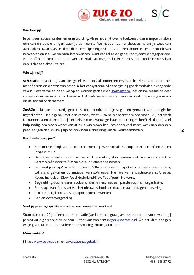 Stage vacature marketing & communicatie so/creatie en ZusenZo Slide 2