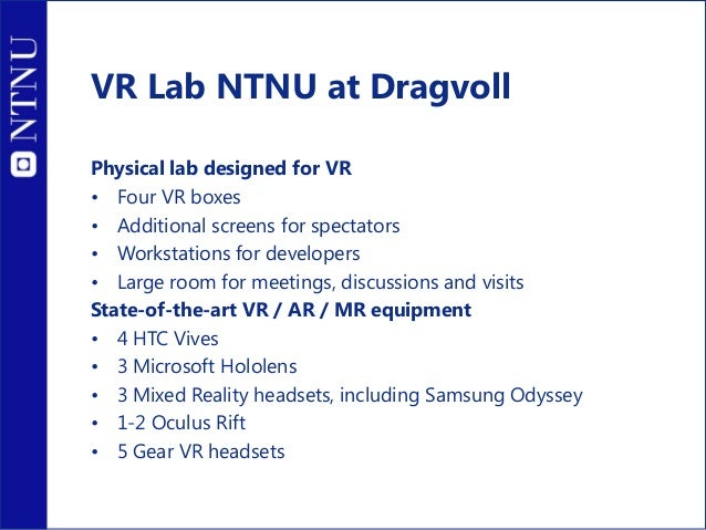R&D projects at IMTEL VirSam: Virtual arenas in medical education grant by Norwegian Research Council FINNUT program, (201...