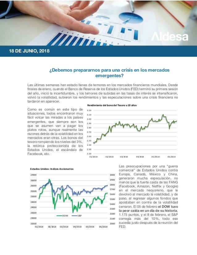 18 DE JUNIO, 2018 ¿Debemos prepararnos para una crisis en los mercados emergentes? Las últimas semanas han estado llenas d...