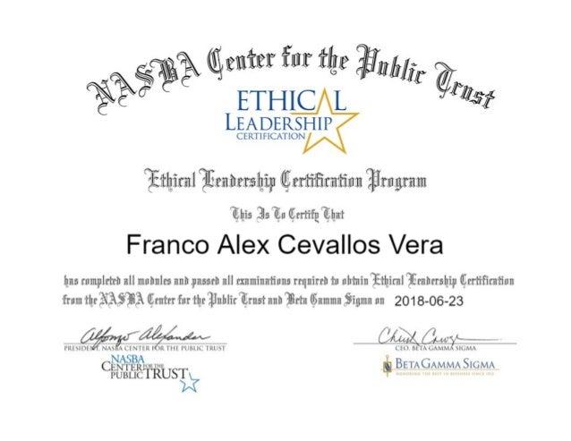 Ethical Leadership Certification Nasba Center For The