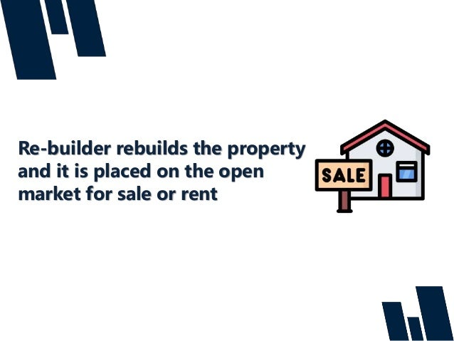 Re-builder rebuilds the property and it is placed on the open market for sale or rent