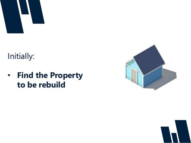 Initially: • Find the Property to be rebuild