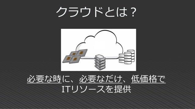 クラウドサービスの形態 主に企業が使う 業務系XaaS 主に個人が使う クラウドサービス IaaS PaaSオンプレミス SaaS 【グリーン】 ユーザが 管理する 範囲 【オレンジ】 ユーザが 管理しな くてよい 範囲