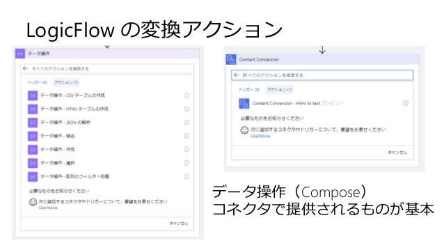 LogicFlow の変換アクション データ操作(Compose) コネクタで提供されるものが基本
