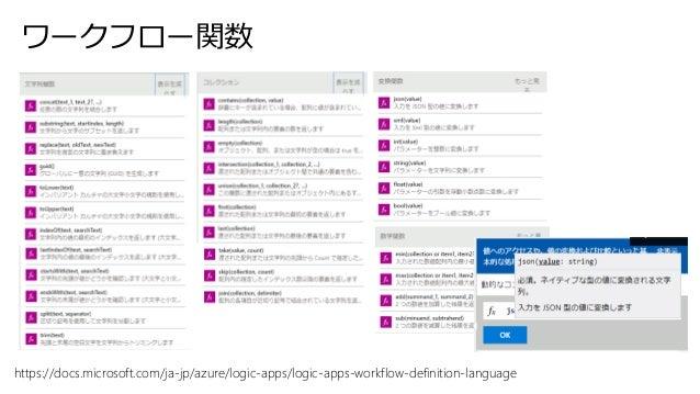 ワークフロー関数 https://docs.microsoft.com/ja-jp/azure/logic-apps/logic-apps-workflow-definition-language