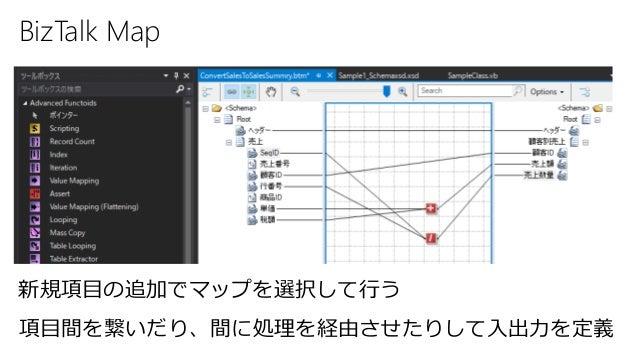 BizTalk Map 新規項目の追加でマップを選択して行う 項目間を繋いだり、間に処理を経由させたりして入出力を定義
