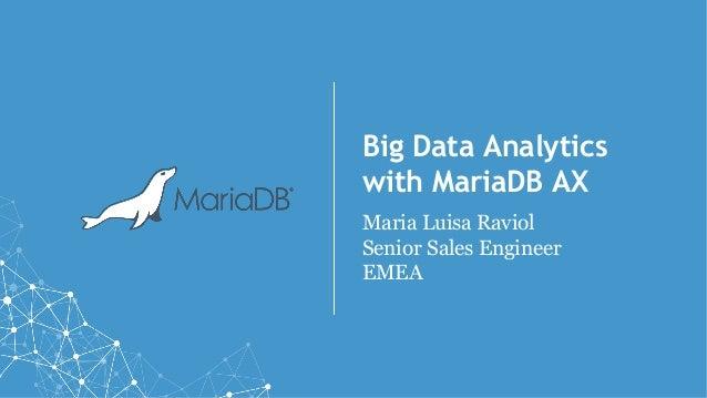 Big Data Analytics with MariaDB AX Maria Luisa Raviol Senior Sales Engineer EMEA