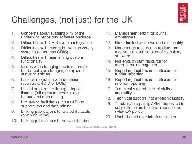 www.bl.uk 16 Challenges, (not just) for the UK 1. Concerns about sustainability of the underlying repository software pack...