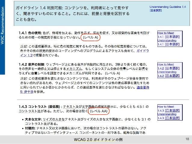 18WCAG 2.0 ガイドラインの例
