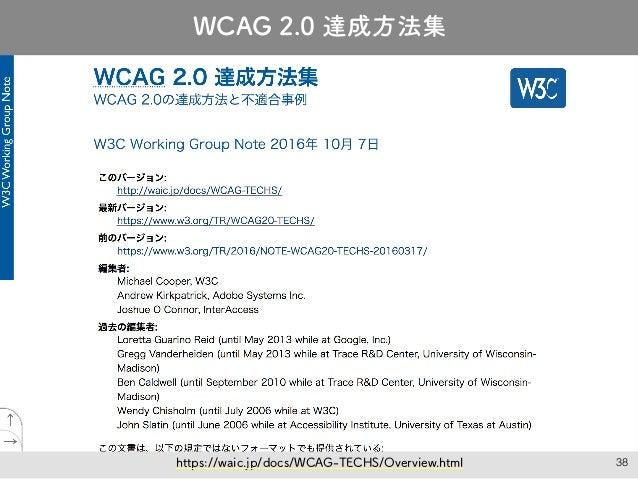 38 JIS X 8341-3:2016 達成方法 絶賛翻訳中! WCAG 2.0 達成方法集 https://waic.jp/docs/WCAG-TECHS/Overview.html