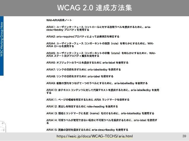 39 JIS X 8341-3:2016 達成方法 絶賛翻訳中! https://waic.jp/docs/WCAG-TECHS/aria.html WCAG 2.0 達成方法集