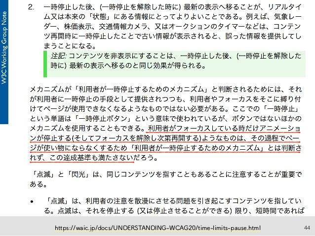 44https://waic.jp/docs/UNDERSTANDING-WCAG20/time-limits-pause.html
